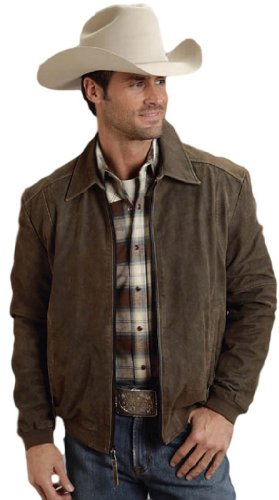 (Stetson Mens Brown Suede Leather Jacket Bomber A2 Flight Zip Up S)