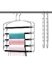 Pants Hangers Organizer Space Saving 5 Tiers Metal Slacks Hangers, Swing Arms Foam Padded Non-Slip Trouser Hanger Storage for Jeans, Suit Pants, Scarves, Ties