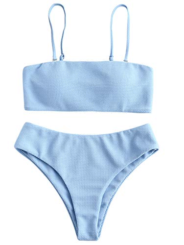 ZAFUL Women's Strappy Bandeau Two Piece Bikini Set Textured High Cut 2 Piece Bathing Suit Swimwear(Sky Blue-L)