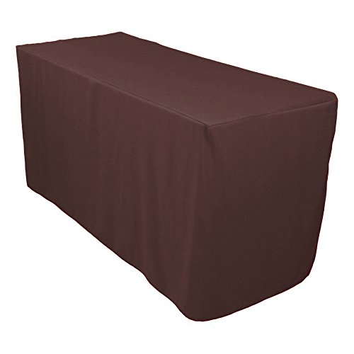 Brown Economy Folding Table (Doolova 5FT Fitted CHOCOLATE Wholesale Polyester Table Cover Wedding Banquet Event Tablecloth)
