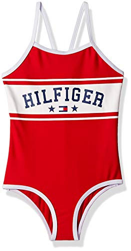 Tommy Hilfiger Big Girls' One-Piece Swimsuit, Chinese Red, Small (7)