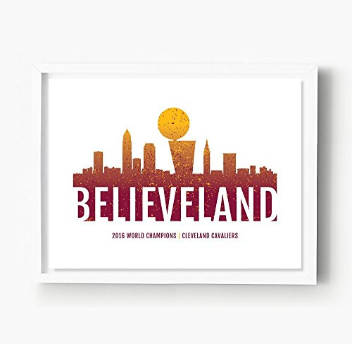Cleveland Cavaliers Print, Cleveland Skyline, Cavs Poster, Believeland
