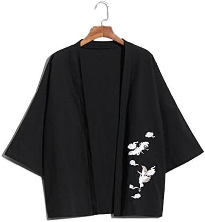 メンズ Tシャツ カーディガン 七分袖 和式パーカー 亜麻 刺繍 プリント 無地 和風 ゆったり シンプル カジュアル トップス かっこいい ファッション 人気 快適 薄手 大きいサイズ
