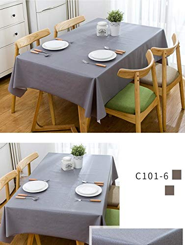 RubyShopUU Solid Waterproof Table Cloth Rectangular PVC oilproof Tablecloth in The Kitchen Modern Home Dinning Table Cover Pink - 283 Bath Lighting