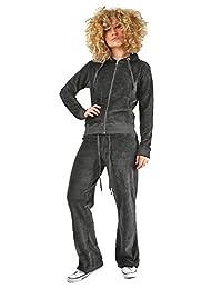 JanisRamone Womens Velvet Velour Hooded Lounge Wear Top Bottom 2 Pcs Suit Jogging Tracksuit