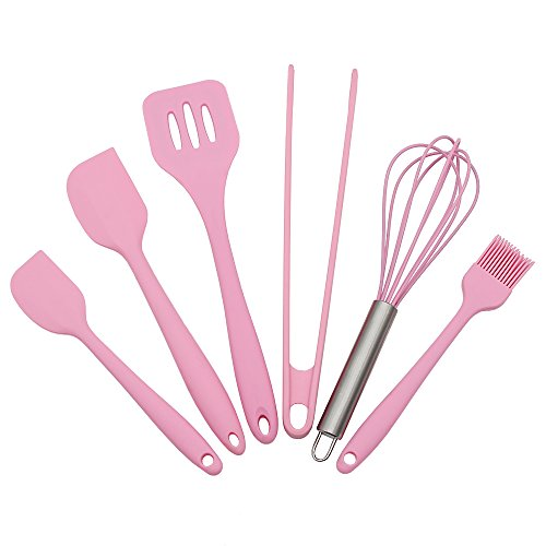 (Pink Silicone Baking Utensils Sets- 6 Piece Premium Kitchen Cooking Tool Set- Tongs, Whisk, 2 Sizes Spatula, Pastry Brush, Slotted Turner - Heat Resistant)