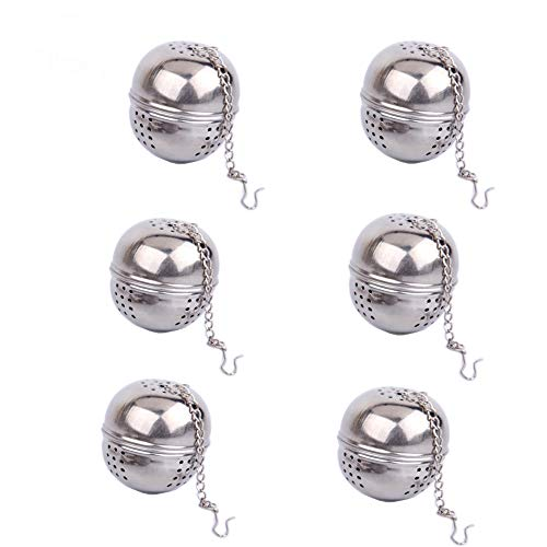 6 Pack Loose Leaf Tea Infuser, Stainless Steel Tea Filters Loose Leaf Tea Infuser Strainers Interval Diffuser with Extended Chain Hook to Brew Loose Leaf Tea, Spices & Seasonings
