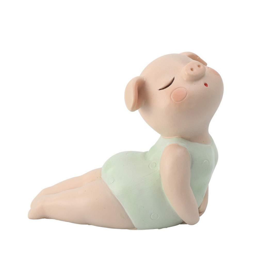 6 JIAHUADE Creative Resin Yoga Pig Decoration Desktop Cute Pig Baby Decoration Cartoon Pig Crafts,6