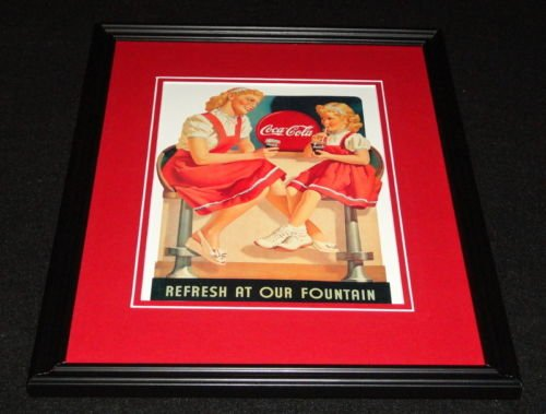 Coke Refresh Fountain (Vintage Coca Cola Refresh at Our Fountain Framed 11x14 Poster Official Repro)