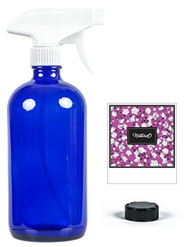 Mist Liquid - NatureO Glass Spray Bottle - 16 Oz COBALT BLUE Empty Spray Bottle for Essential Oils Mixtures With Trigger Sprayer and Cap - Sprays Stream or Mist - Gift Packaging - Beautiful Design Label