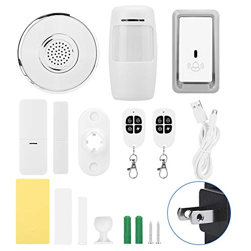 ASHATA Multifunction WiFi Home Security Alarm Kit, Sensors Host(with Night Light and doorbell Function)+PIR+Doorbell Button+2 Remote Control+Door Magnetic Support for AMZALexa/Google Home(US) (Best Host Intrusion Prevention System)