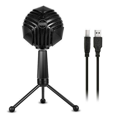 MODAR USB Cardioid Microphone Stand, Studio Broadcasting Recording Condenser Mic Desktop Professional with LED Power Indicatior, Volume Adjuster, Mute Button, USB Port and Headphone Jack by MODAR
