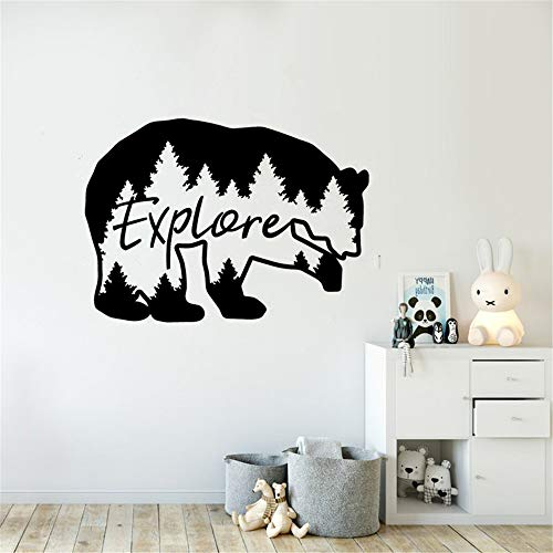 Wall Decal Quote Words Lettering Decor Sticker Wall Vinyl Explore Bear Travel Mountains Forest Theme Kids Room Decor Nature Beer Nursery