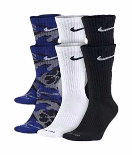 Nike Mens Dri-FIT Cushion Socks 6-Pair,  Royal Blue Camo/White/Black, (Men's Shoe 8-12) - Camouflage Toe Socks