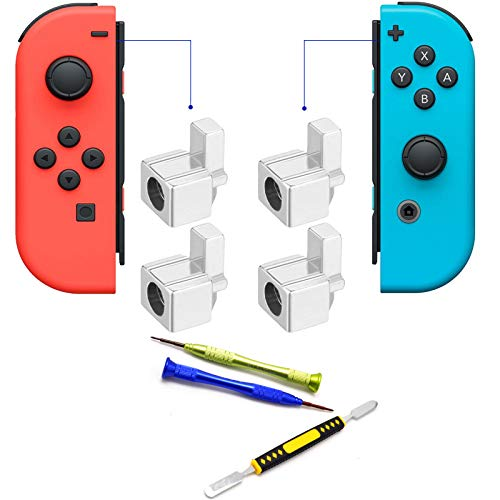 Deal4GO Left Right Metal Buckle Lock Buttons + Spring Replacement for Nintendo Switch Joy Con Controller Metal Latch with Screwdrivers ()