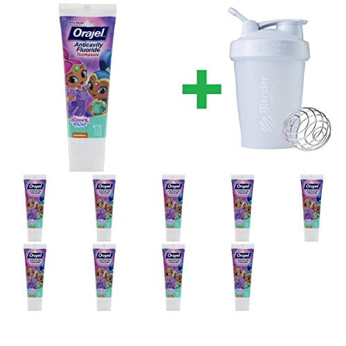 Orajel, Shimmer & Shine Anticavity Fluoride Toothpaste, Berry Divine, 4.2 oz (119 g)(10 Packs)+ Assorted Sundesa, BlenderBottle, Classic With Loop, 20 oz