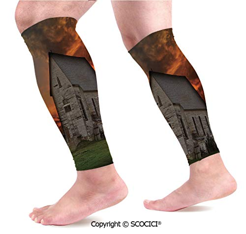 Flexible Breathable Comfortable Leg Skin Protector Sleeve Rustic Prairie Building in Western South Dakota USA Wooden House Grassland Calf Compression Sleeve (Cast Of Little House In The Prairie)