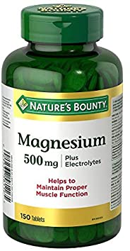 Nature's Bounty Magnesium with Electrolytes Supplement, Helps Maintains Muscle Function, 500mg, 150 Tab