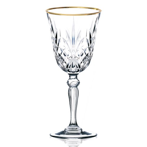 Lorren Home Trends Siena Collection Crystal White Wine Glass with Gold Band Design, Set of 4