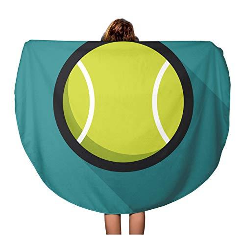 (Semtomn 60 Inches Round Beach Towel Blanket Green Wimbledon Tennis Ball Retro Sport and Recreation Court Travel Circle Circular Towels Mat Tapestry Beach Throw)