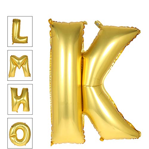 Lovne 40 Inch Gold Alphabet K Balloon Giant Balloons Helium Foil Mylar Huge Letter Balloons A to Z for Birthday Party Decorations/Wedding/Anniversary