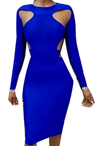 Length Party Cocktail Knee Blue Dress Jaycargogo Womens Backless Solid Sexy 0xqnXa1gw