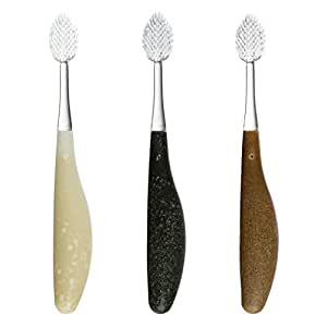 RADIUS Source Recycled Handle Toothbrush, Medium Bristles, Assorted Colors, Colors May Vary (Pack of 3)
