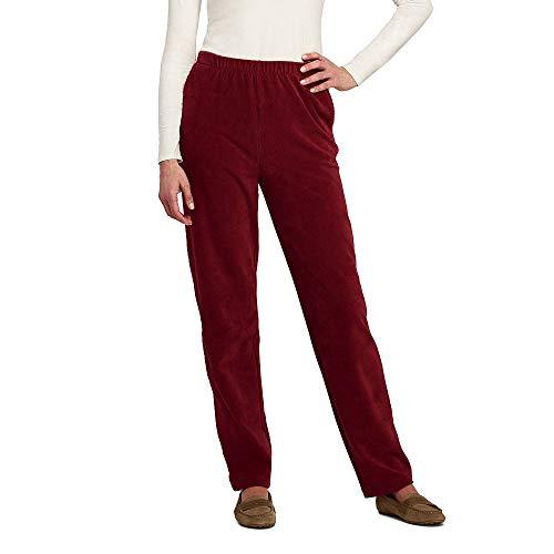 Lands' End Women's Sport Knit Corduroy Elastic Waist Pants High Rise, L, Dark Rust -