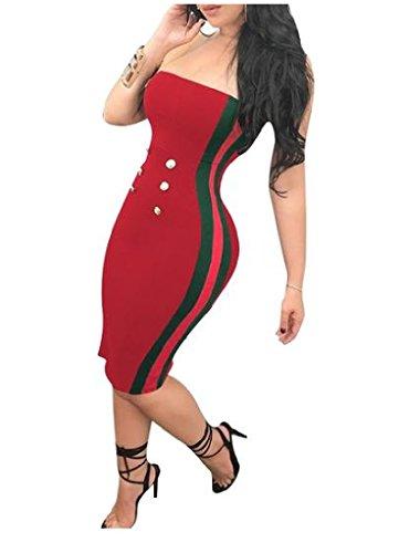 Coolred Femmes Bodycon Chic De Couleur Frappé Sangle Bustier Mini Rouge Robe