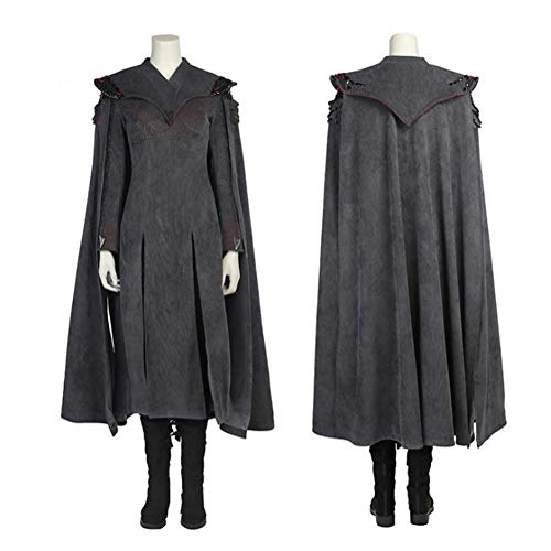 Mother of Dragon Costume Suit Daenerys Targaryen Cosplay Set with Black Cloak Halloween Party TV Series for Women,XS]()