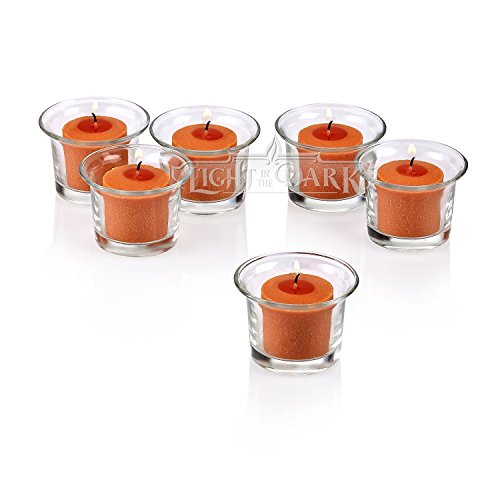 Clear Glass Lip Votive Candle Holders With Orange votive candles Burn 10 Hours Set of (Orange Candle Holders)