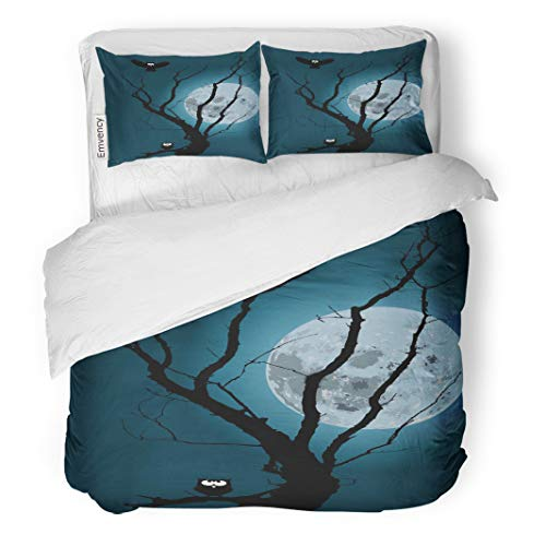 Semtomn Decor Duvet Cover Set King Size Animals Moonlight Forest Silhouette of Owl Back Bare Beauty 3 Piece Brushed Microfiber Fabric Print Bedding Set Cover -