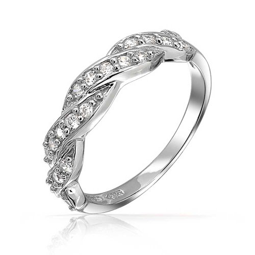 Bling Jewelry Pave CZ Half Eternity Band Twisted Infinity Braid Sterling Silver Ring (Band Twisted Pave)