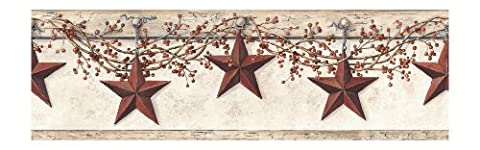 York Wallcoverings Best Of Country HK4664BD Hanging Star Border, Off White/Khaki (Wallpaper Country)
