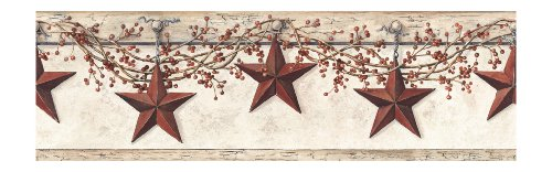 York Wallcoverings Best Of Country HK4664BD Hanging Star Border, Off White/Khaki (Border Primitive Wallpaper)