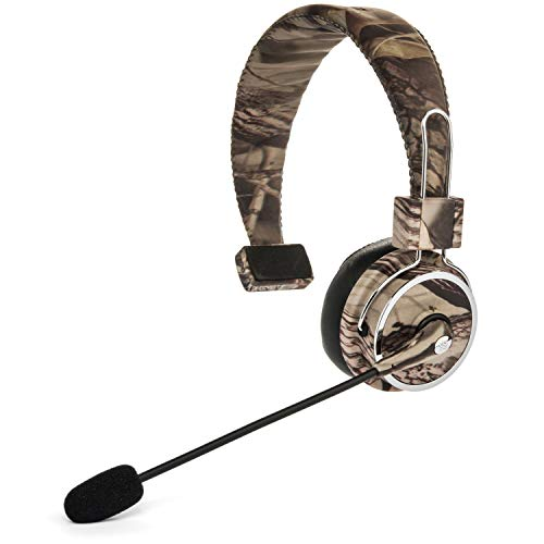 Blue Tiger Elite Premium Wireless Bluetooth Headset - Professional Truckers' Noise Cancellation Head Set with Microphone - Clear Sound, Long Battery Life, No Wires - 34 Hour Talk Time - - Camo Small Blue