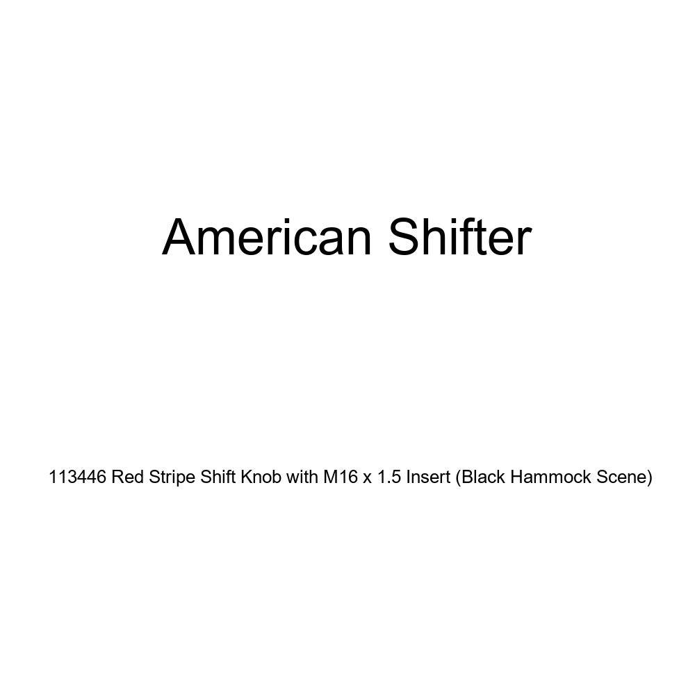Black Hammock Scene American Shifter 113446 Red Stripe Shift Knob with M16 x 1.5 Insert