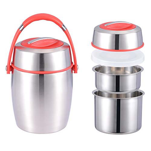 - Thermal Insulated Lunch Box Vacuum Food Containers 304 Stainless Steel Multilayer Bento Box