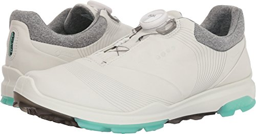 ECCO Women's Biom Hybrid 3 BOA Gore-Tex Golf Shoe, White/Emerald Yak Leather, 9 M US (Best Support Golf Shoes)