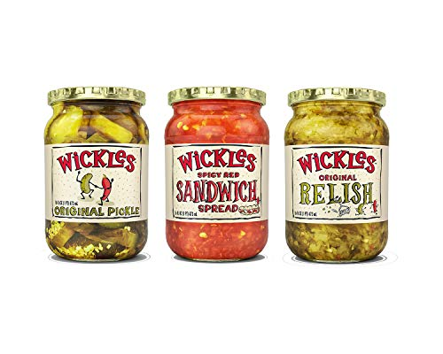 - Wickles Variety Pack - 1 Original Slices, 1 Spicy Red Sandwich Spread, 1 Original Relish, 16 OZ (3 CT)