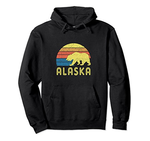 Retro Alaska Hoodie with a Vintage Design and a Bear