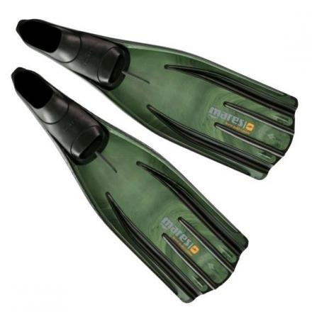 (Mares Pure Instinct Quattro Power Spearfishing Fins (EURO 46-47 / Mens 11/12, Green Camo))