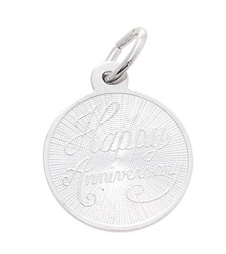 Sterling Silver ONE Sided Happy Anniversary DISC Charm/Pendant Jewelry Making Supply Pendant Bracelet DIY Crafting by Wholesale Charms (Happy Anniversary Disc Charm)