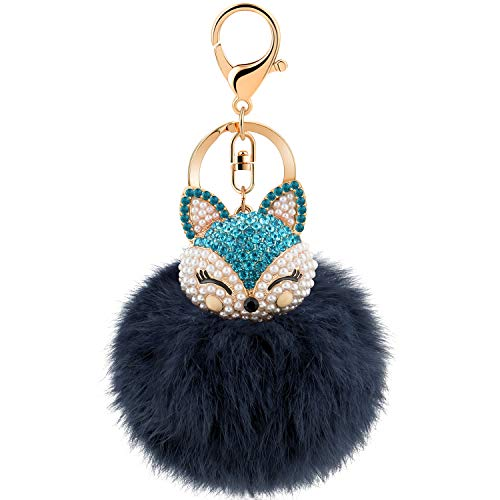 Fox Keychain - JOUDOO Rabbit Ball Keychain with Rhinestone Fox Head Keyring GJ-001 (Navy Blue)