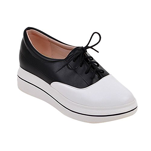 Carolbar Womens Assortiment De Couleurs Lace Up Talon Talon Casual Oxfords Chaussures Noir