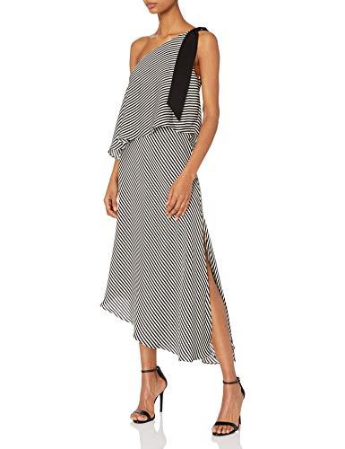 Halston Heritage Women's One Shoulder Mini Stripe Flowy Dress