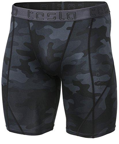 TM-MUS17-MBK_Medium Tesla Men's Compression Shorts Baselayer Cool Dry Sports Tights MUS17