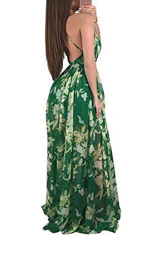 Neck Dress Green Remelon Beach Boho Cross Criss Long Womens Party V Strap Maxi Backless Deep Spaghetti Floral Chiffon Sexy q1TUqY