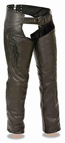 (Milwaukee Leather Ladies Leather Chap w/ Wing Embroidery And Rivet Detailing (Black, L))