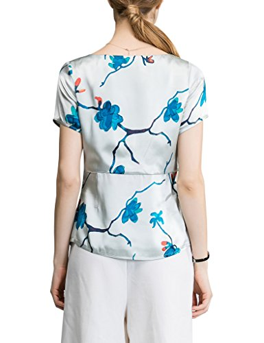 Short Ladies Silk Neck Sticky Sleeve Shirt Square Floral 100 Print Fingers qEzaUW7